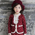 2015 Girls Clothing set Plaid suit jacket + skirt 2pcs long-sleeved autumn Kids clothes set children's suit free shipping