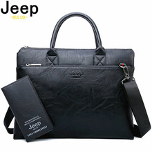 купить JEEP BULUO High Quality Men Briefcases Bag For 14 inch Laptop Business Travel Bags Handbags Leather Office Shoulder Bags For Man дешево