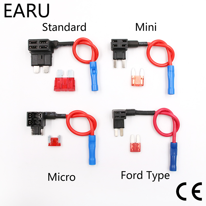 12V Fuse Holder Add-a-circuit TAP Adapter Micro Mini Standard Ford ATM APM Blade Auto Fuse with 10A Blade Car Fuse with holder 120a afs mini anl fuse holder 2 4ga in 2 4ga out with voltmeter and 120a fuse