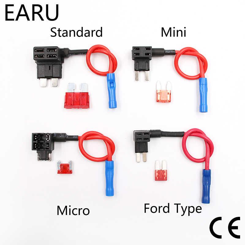 12V sigorta tutucu add-a-devre musluk adaptörü mikro Mini standart Ford ATM APM Blade otomatik sigorta ile 10A bıçak araba sigorta tutucu ile