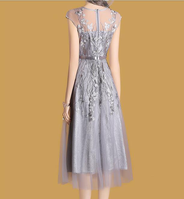 De Robes Maille Crochet Festa D'été Femmes Doublure Gris Robe Élégante Patchwork Sans Brodé Appliques Manches 7Oqvvz