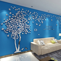 Романтическая пара Дерево Кристалл акриловые наклейки на стену Современная гостиная спальня домашний Декор 3D DIY Зеркальная Наклейка на сте...