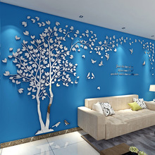Romantic Couple Tree Crystal Acrylic wall stickers Modern Living Room Bedroom Home Decor 3D DIY Mirror wall sticker Love Tree tree wall decal sticker bedroom tree of life roots birds flying away home decor yoga studiodecor heart shaped branches a7 018