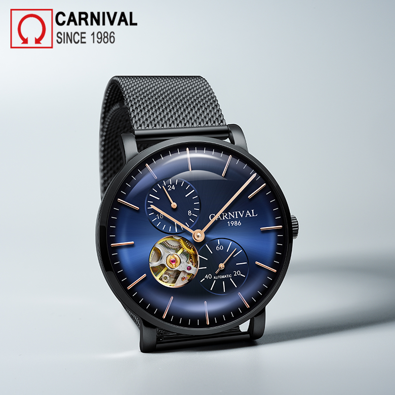 цена на Carnival Tourbillon Automatic Watch Men Stainless Steel Mechanical Watches Mens Waterproof Clock Wristwatch horloges mannen 2018