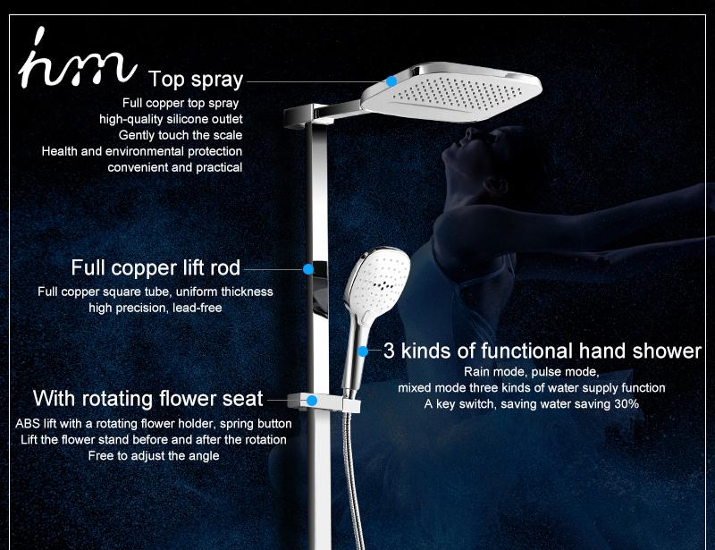 hm Installed Square shower Set Intelligent Digital Temperature Shower Brass Rain Faucet Smart Digital Display Wall Waterfall  (5)