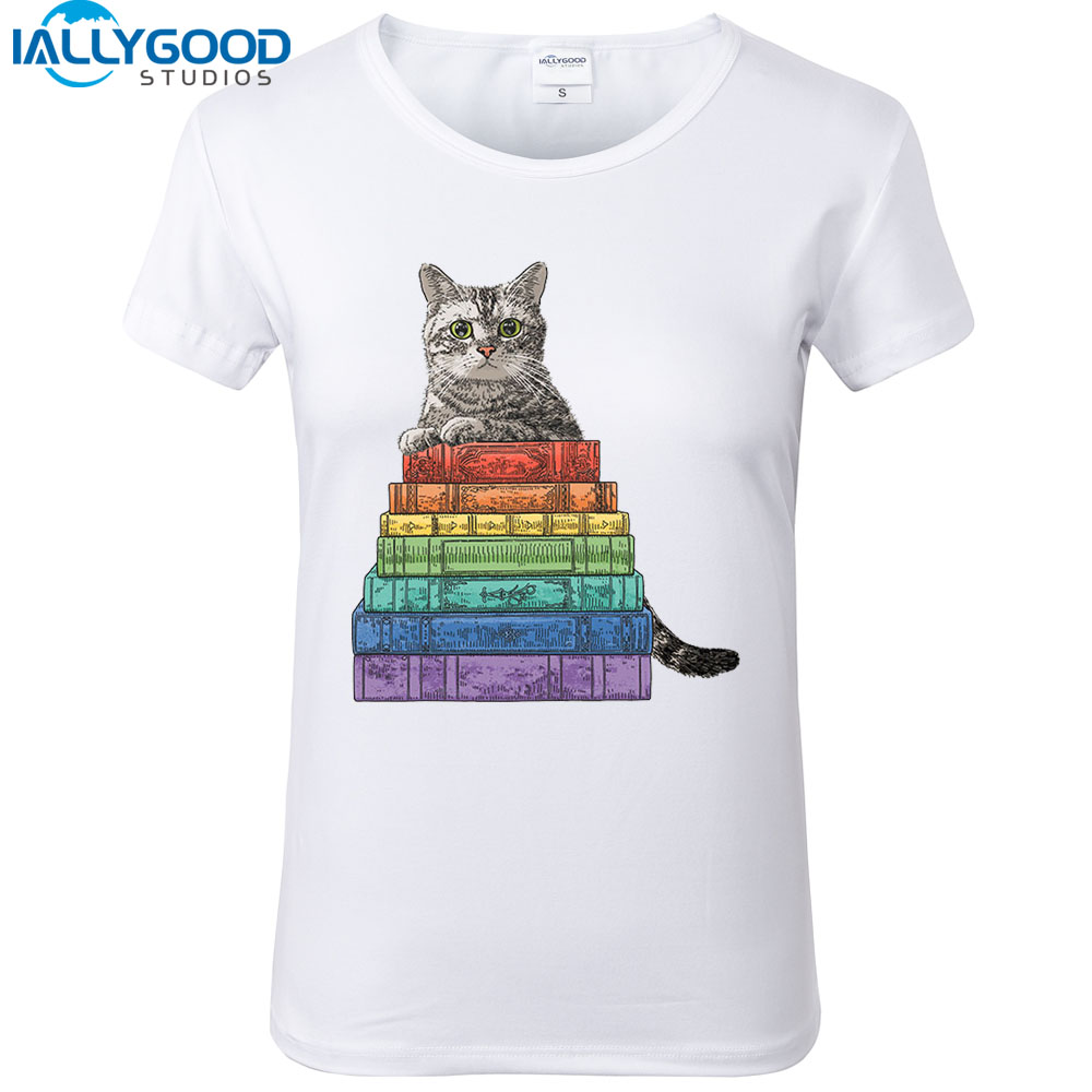 New Summer Womens Fashion Rainbow book Cat Printed T-shirts Cool Soft Cotton Short Sleeve White Tops S1261