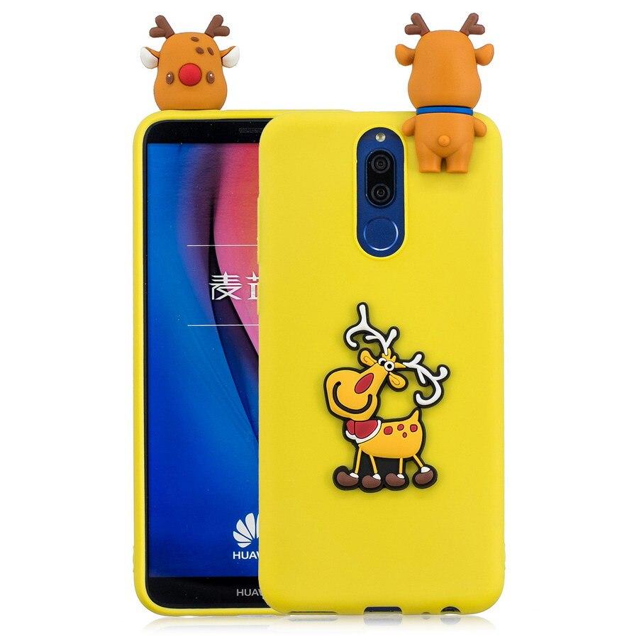 3D Christmas Tree Phone Case For Huawei Mate 10 Lite Cute Cartoon Deer Xmas Santa Claus Soft TPU For Huawei Mate10 Lite Cover