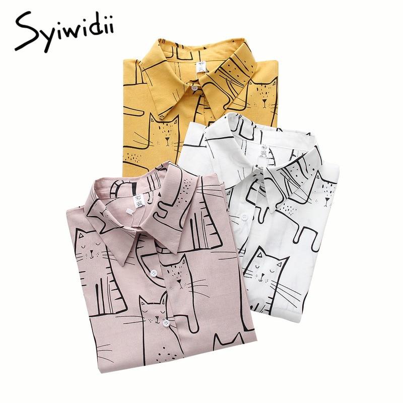Yellow   Blouses     Shirts   Women 2019 Long Sleeve Print Cartoon Cute Cat Tops Pink White   Shirt   korean top harajuku lady hot sale