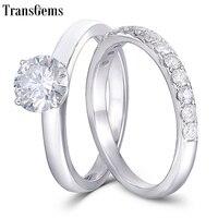 TransGems Solid 18K 14K White Gold Engagement Bridal Set Center 1ct 6.5MM Excellent F Color Moissanite Ring Set for Women