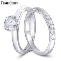 TransGems Solid 18K 14K White Gold Engagement Bridal Set Center 1ct 6.5MM Excellent F Color Moissanite Ring Set for Women