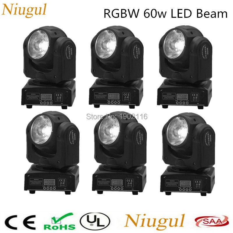 6pcs 60W LED beam moving head light dj spot lights RGBW 4IN1 60W LED linear beam stage effect lighting Club Bar Disco LED lamp niugul mini 10w rgbw 4in1 led moving head dmx512 light led beam spot lighting show disco dj laser light christmas party lights