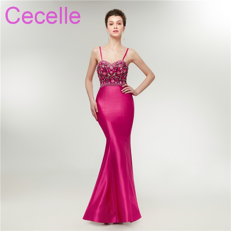 2019 New Latest Colorful Fuchsia Mermaid Satin Prom Dresses Long With Straps Embroidery Beaded Teens Prom Gowns Real Photos