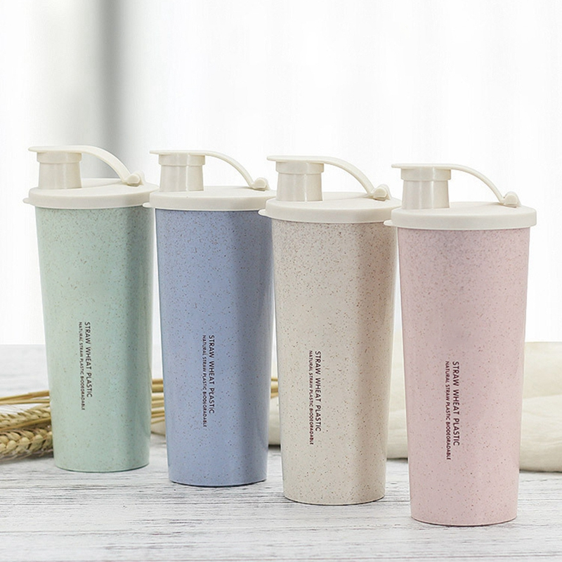 450ml Powder For Student school or travel Water Bottle Wheat Straw Sports Fitness Protein Shaker Milk Shake Bottle image