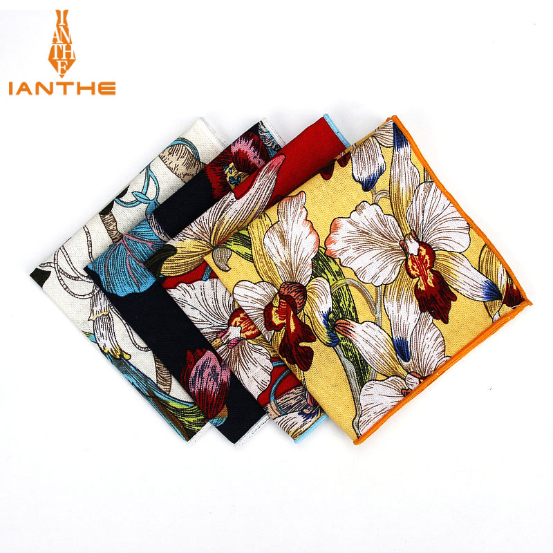 Brand New Men Suits Linen Handkerchiefs Flower Floral Vintage Pocket Square Hankies Men's Business Square Pockets Hanky Towel