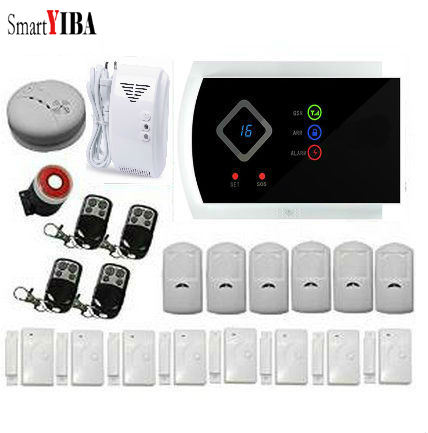 SmartYIBA 99 Wireless Zones Gsm SMS Burglar Alarm System Gas Smoke Fire Glass Break Sensor Detector Russian Spanish French Voice