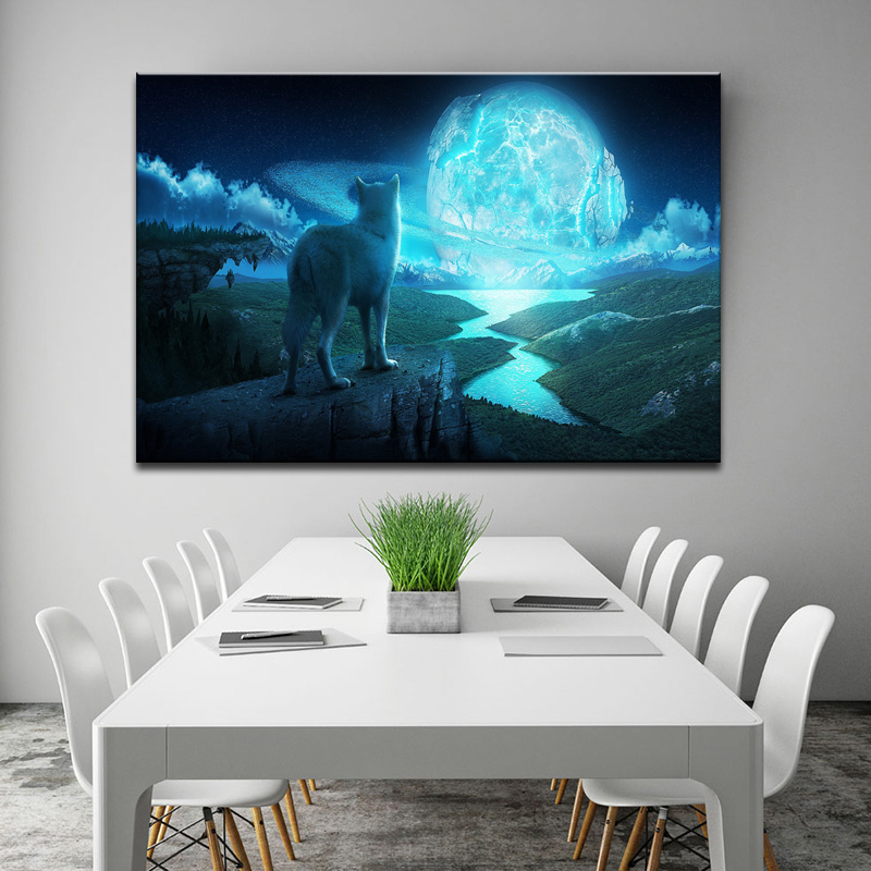 Wolves With Glass Planets Surround Canvas Print Painting