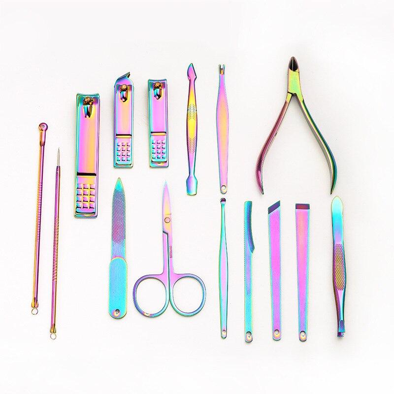Color 15 piece set nail clipper set nail tool Hand tools set
