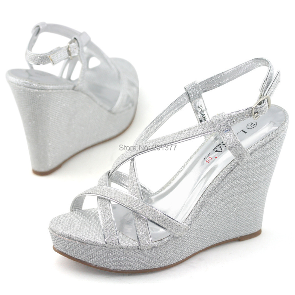 cb29da38e32 LARA s glitter wedding shoes for women strappy slingback high heel wedge  sandals silver red summer ladies shoe woman sandel new-in Women s Pumps  from Shoes ...