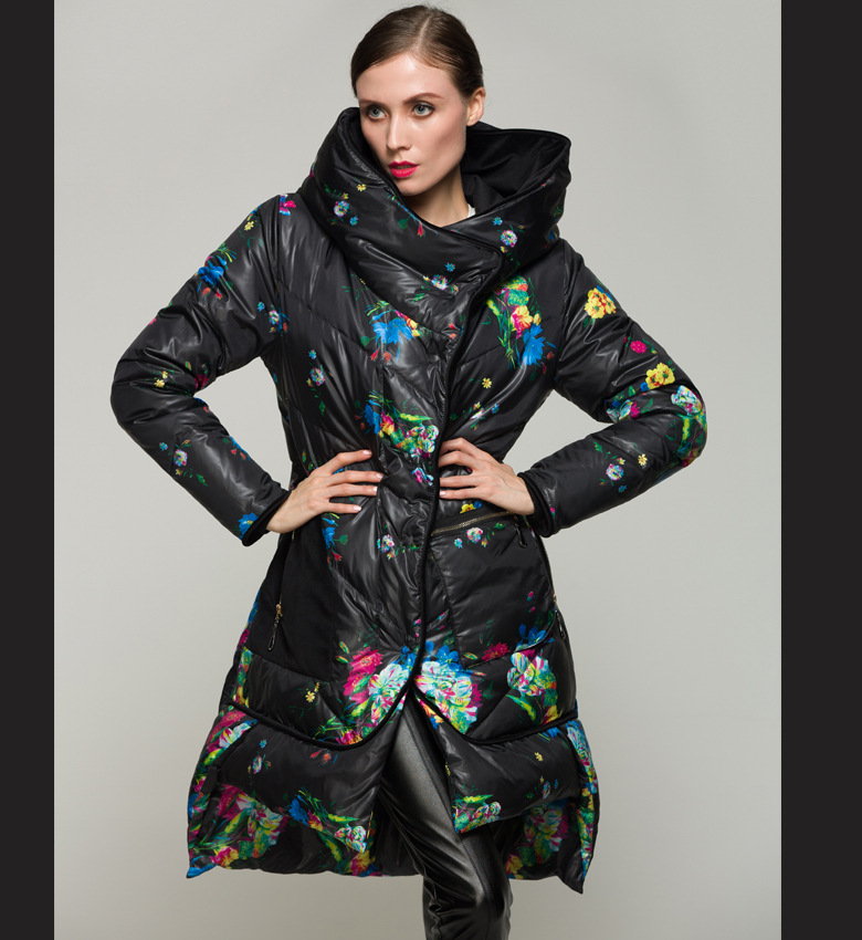 90% duck Down Coat Parka women's print medium-long down coats ...