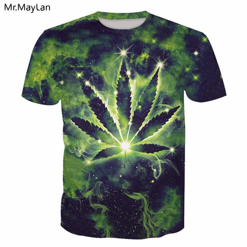 3D Print Green Weed Leaves Lighting T shirt Tees Men/women