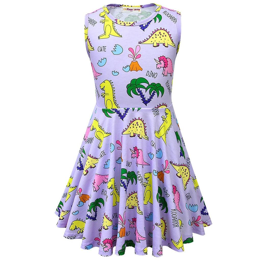 Dresses Toddler Kids Baby Girls Strap Cartoon Dinosaur Cross Back Princess Casual Dress Mother & Kids