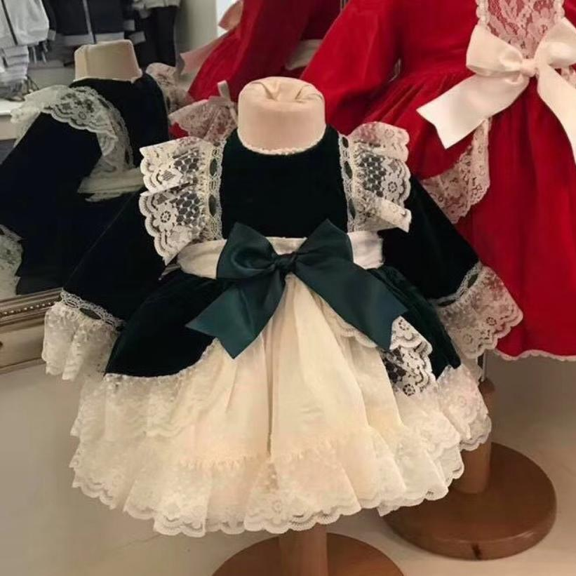 Spain Girls Velvet Dress Christmas Party Bow Lace Dress Baby Girl Princess Wedding Gown Kids Clothing Vestido Green Elbise Y1275Spain Girls Velvet Dress Christmas Party Bow Lace Dress Baby Girl Princess Wedding Gown Kids Clothing Vestido Green Elbise Y1275