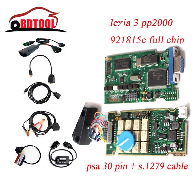 Цена за Высочайшее Качество Diagbox V7.83 V7.76 Полный Чип 921815C Lexia3 Lexia 3 PP2000 для C-itroen C4 P eugeot 307 с PSA 30pin + S1279 модуль