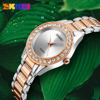SKMEI New Alloy Quartz Watch Women Rhinestones Ladies Wrist Watches Waterproof Rose Gold Wristwatch Woman Clock