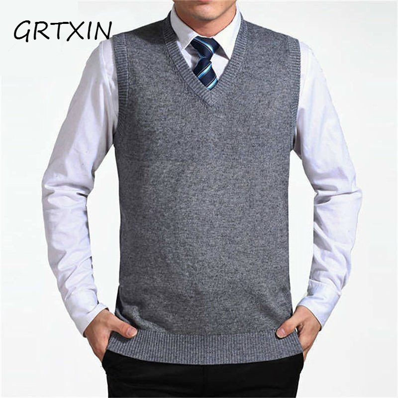 GRTXIN 2018 New Arrival Solid Color Sweater Vest Men Cashmere Sweaters Wool Pullover Men Brand V-Neck Sleeveless Jersey Hombre