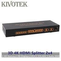 3D 4 К 2x4 HDMI Splitter 2 до 4 HDMI разъемами 2.0CH, 5.1CH, ADV 3 аудио EDID, Питание для цифровых HDTV шт Бесплатная доставка