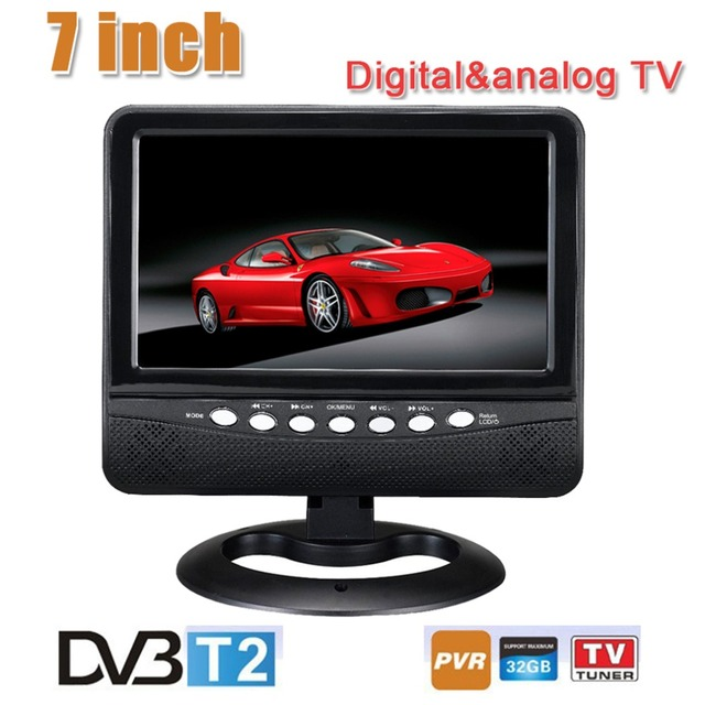 Portable TV DVB-T2 7 Inch Digital And Analog TV Receiver And TF Card And USB Audio And Video Playback Portable Television
