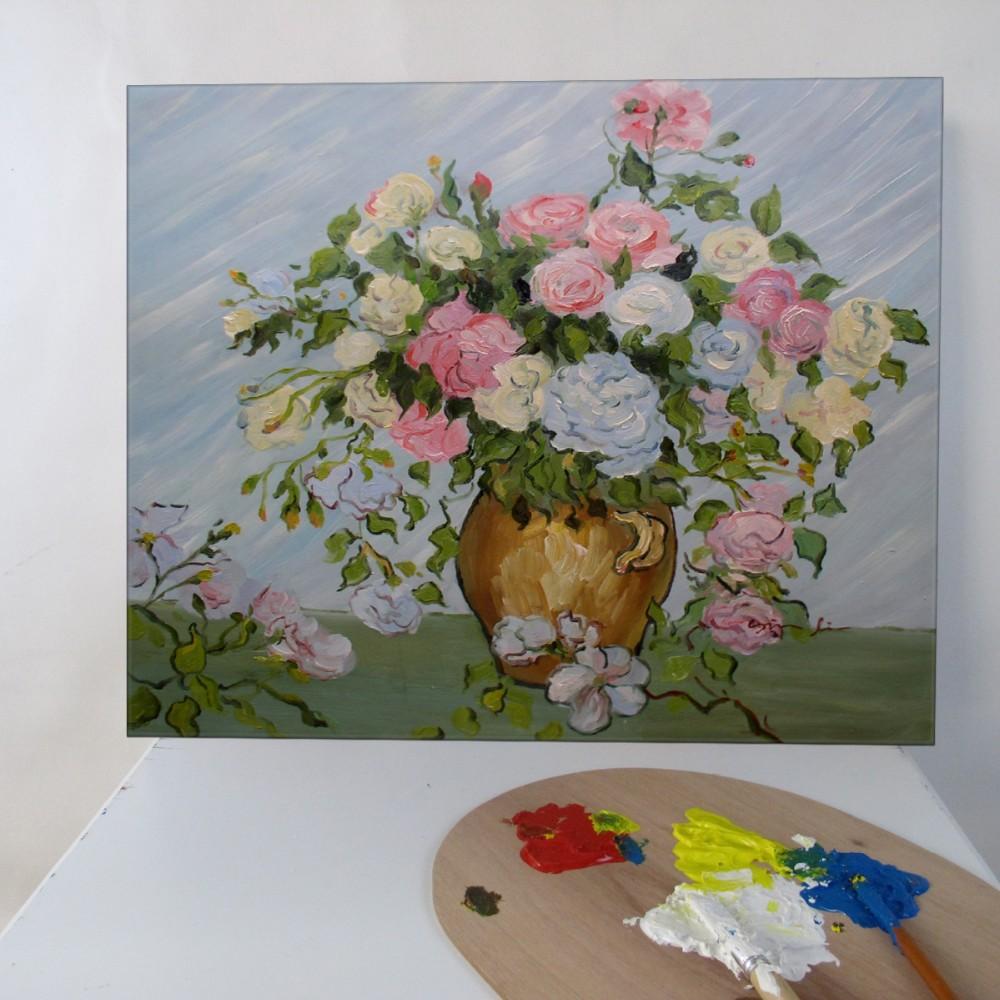 Handgemalte Ölgemälde Rosa und Weißen Rosen durch Van Gogh in ...