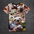 Горячая Smiley Ленивцы 3D Печати Футболка Хлопок Мужская Летняя Футболки Подросток Свободные Homme Топы Милые Животные