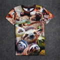 Hot Smiley Sloths 3D Print T-shirt Cotton Unisex Summer Tee Shirts Teen Loose Homme Tops Cute Animals