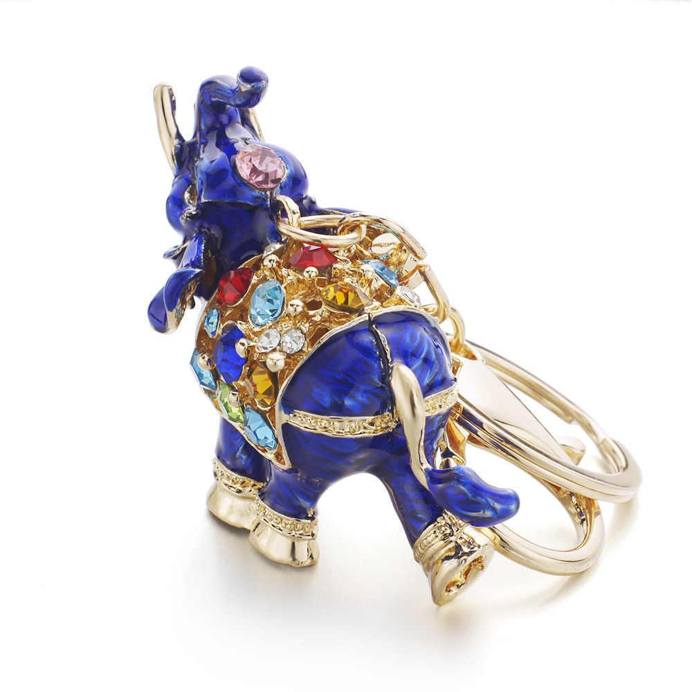 Dormon Chic 3D Elefante Auspicioso Saco Chave Titular Chains Esmalte de Cristal Multicolor Pingente Chaveiros Chaveiros Para Carro DK280