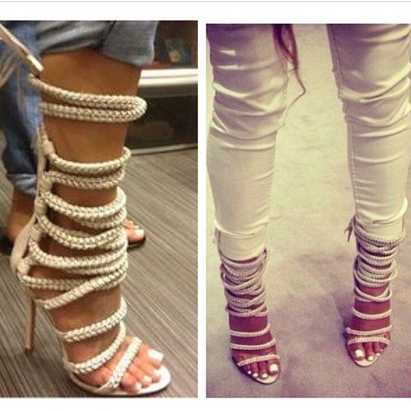 f3742523a94a Fashion Strappy Peep Toe High Heel Rope Summer Sandals Boots Chain Leather  Ankle Strap Women Gladiator Sandalias Femininas-in Women s Sandals from  Shoes on ...