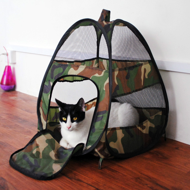 Pet Products cats Supplies green Camouflage nylon cat Tunnel Tent