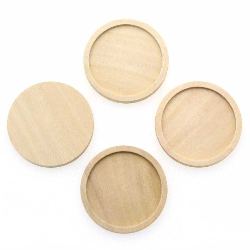Купить с кэшбэком 200pcs large size Round Wooden Bezel settings tray 30mm natural wood Hollow Frame blanks for pendant Cameo DIY