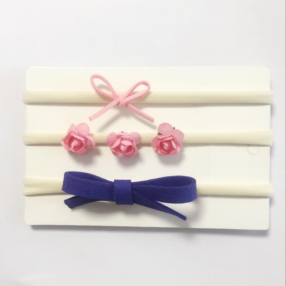 25 צבעים 3pcs / set התינוק ילדה ילד ניילון סרט ילדים רך נמתח פרח bowknot אלסטי שיער הלהקה bebe