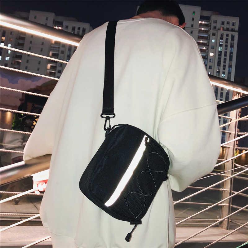 Mannen Kleine Satchel Vrouwelijke Ins Mode Merk Casual Reflecterende Messenger Bag Japanse Mannen Sport Canvas De Enkele Schoudertas