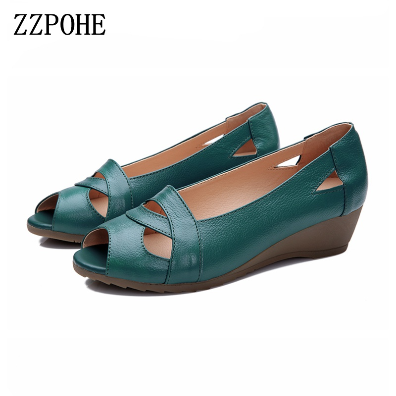 ZZPOHE 2018 Summer Women Shoes Woman Genuine Leather Platform Soft Sandals Open Toe Mother Wedges Casual Sandals Plus size nemaone new 2017 women sandals summer style shoes woman platform sandals women casual open toe wedges sandals women shoes