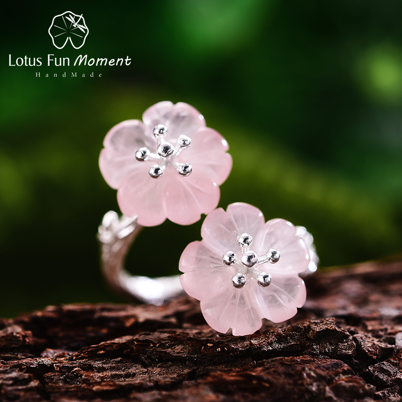Lotus Fun Moment Real 925 Sterling Silver Natural Crystal Designer Fashion Jewelry Flower in the Rain Rings for Women Bijoux