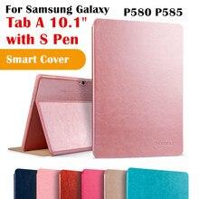 """A6 10.1 Magent KAKU Tab Cubierta Del Tirón para Samsung Galaxy Tab 10.1 """"P580 P585 con S Pen Tablet Caso Elegante de la Cubierta Protectora shell"""