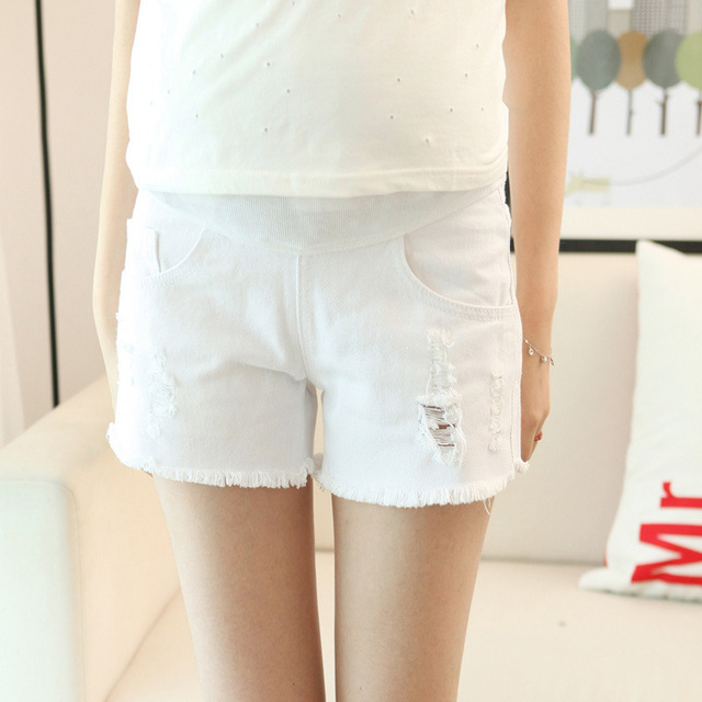 pregnant women white shorts jeans summer style adjust soft