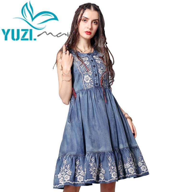 Summer Dress 2019 Yuzi may Boho New Denim Women Dresses O Neck Vintage Flower Embroidery Sundress
