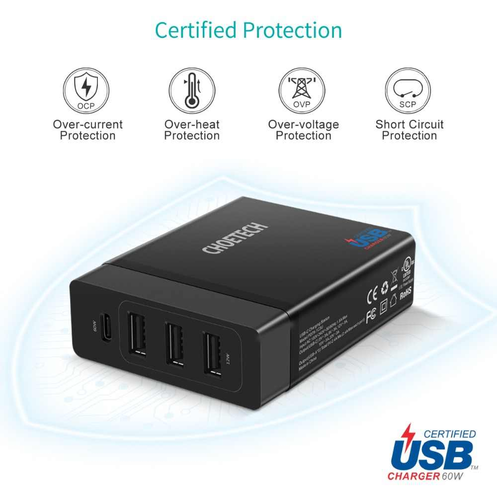 Choetech Multi USB Charger Usb C 72W 4 Port USB TYPE C PD Charger Station Tipe-C untuk macbook Pro Ipad Pro iPhone X Max Huawei