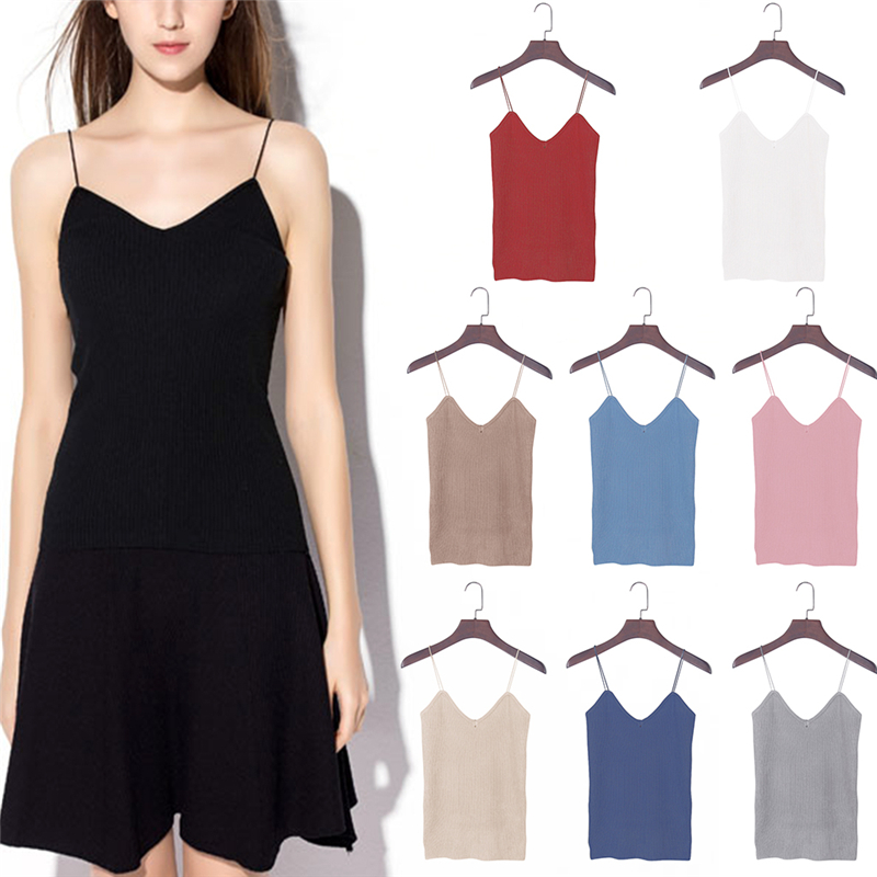 Knitted Tank Tops Women Camisole Vest Simple Stretchable VNeck Slim Sexy Strappy
