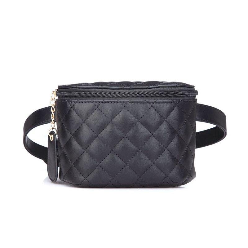 Fashion Brand Lattice Ladies Bag High Quality Waist Fanny Pack Belt Bag Pouch Travel Hip Bum Bag Women Leather Small Purse