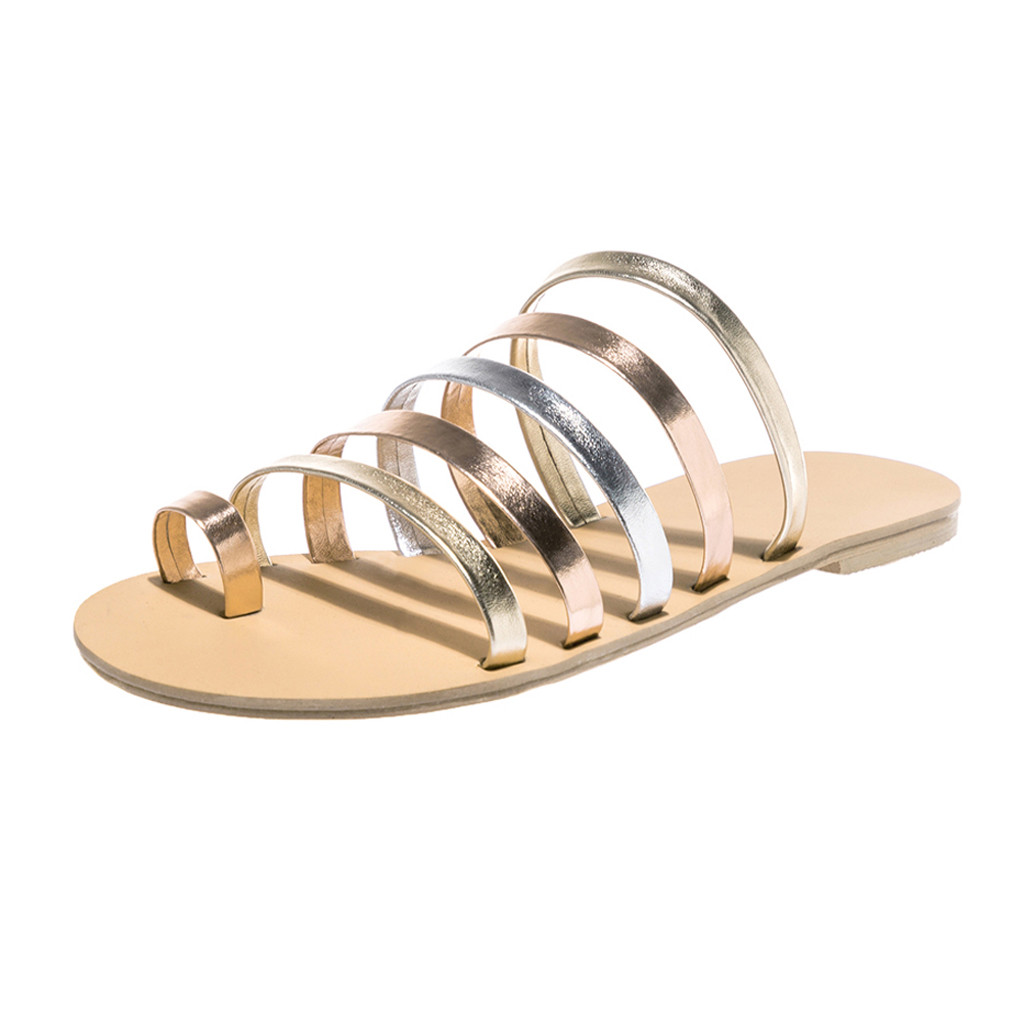 HTB1Xey.LpzqK1RjSZFvq6AB7VXat Women Flat Sandals Summer 2019 Gladiator Sandals Ladies Strap Slippers Roman Female Flip Flops Outdoor Casual Sandales Femme