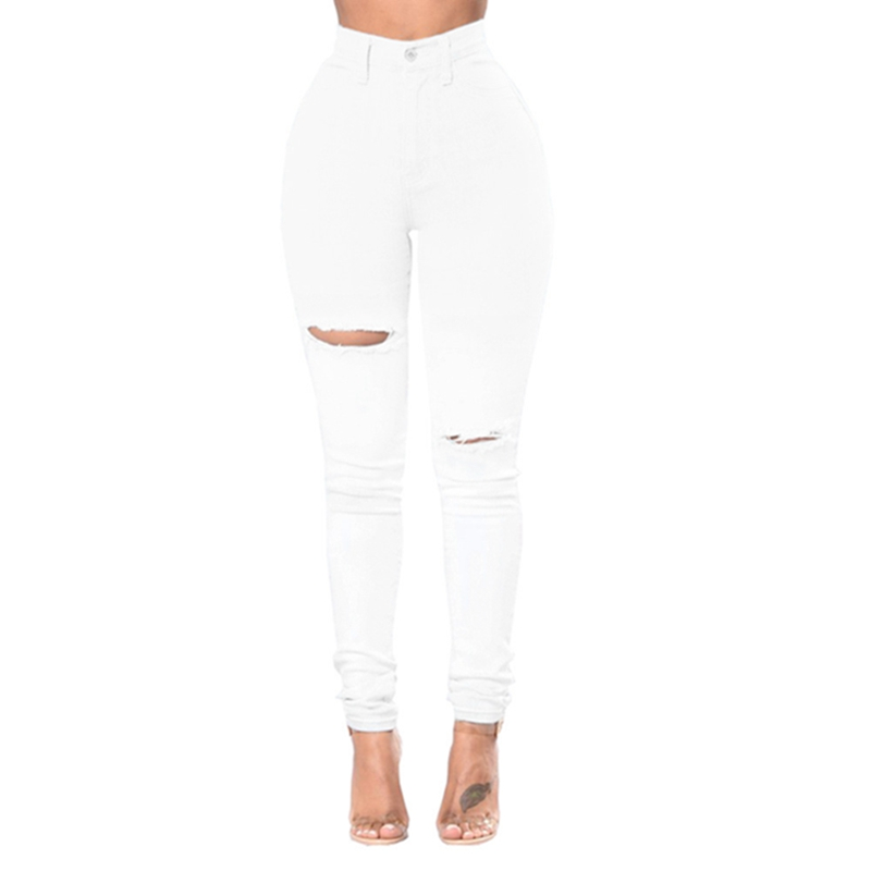 Jeans Donna Curvy Vita Alta Strappati Stretch Strappato Skinny Denim Pantaloni